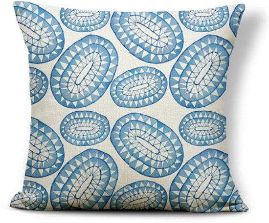 Kussenhoes Indigo Cirkels| Kussenhoes Blauw Wit Watercolor met Rits