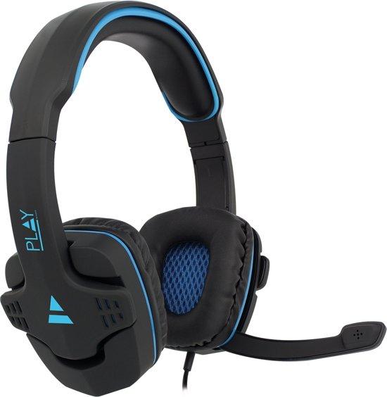 Ewent Gaming headset, 2x 3,5mm jack, 1,5 m nylon omhulde kabel, zwart met blauw (PL3320)