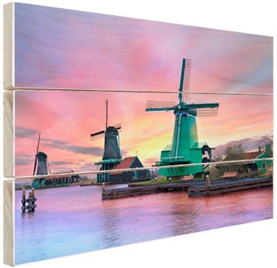 FotoCadeau.nl - Amsterdamse iconische windmolen Hout 120x80 cm - Foto print op Hout (Wanddecoratie)
