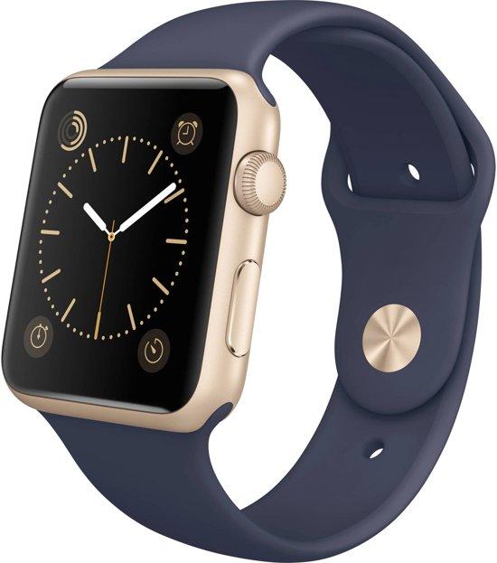 Rubberen sport bandje voor de Apple Watch 42mm S/M - Midnight blue in Zulzeke