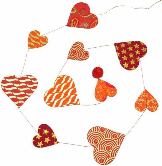 MoreThanHip Papieren verticale slinger - hartjes rood/oranje