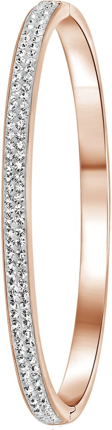 Lucardi - Colours by Kate - Stalen armband roseplated wit kristal