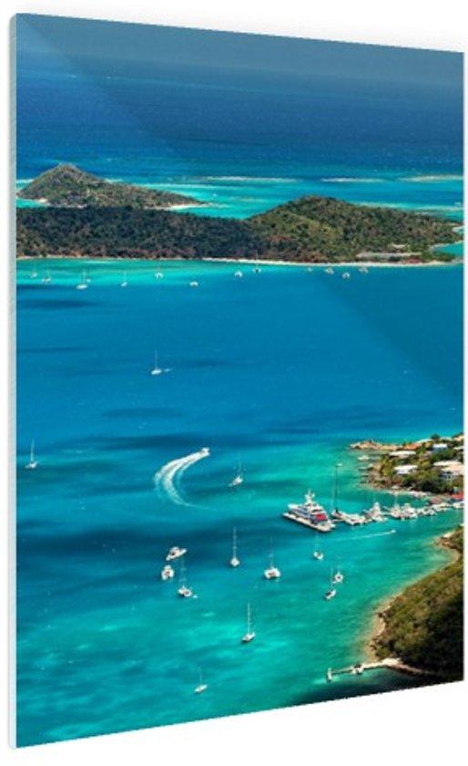 Caribische haven Glas 120x180 cm - Foto print op Glas (Plexiglas wanddecoratie) XXL / Groot formaat!