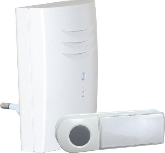 Byron B411E - Draadloze deurbel - 75m - Plug-in deurbel - Beldrukker licht op in het donker - Wit