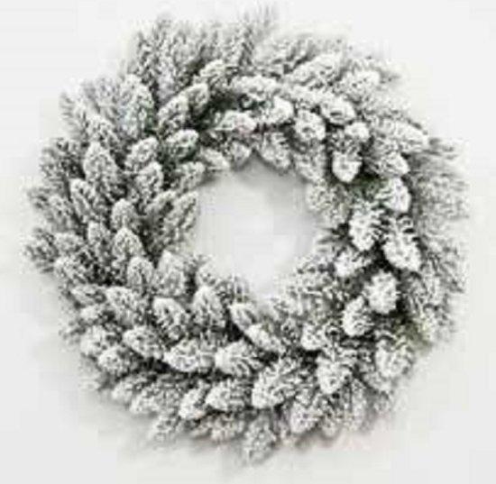 Dakota Flock Kerst Krans met 100 geintegreerde warme LED Lampjes - Kerst Krans Dakota Flock 150 cm - 660 Takken