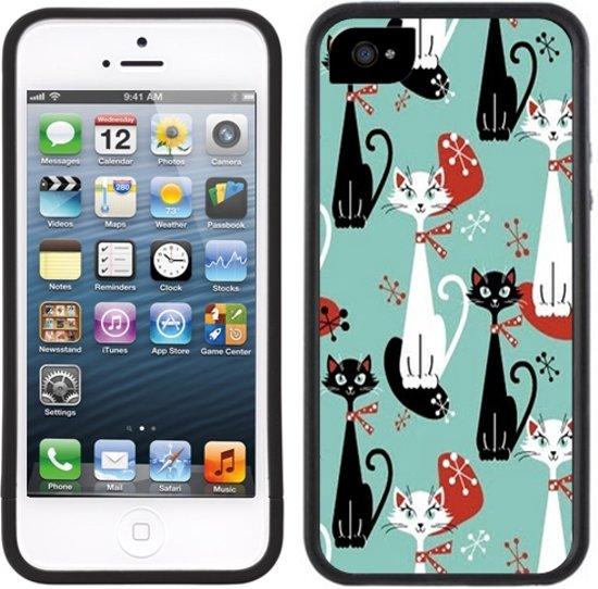 Katten Retro | Handmade | iPhone 5 5s | Zwart TPU Hoesje