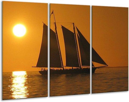 Canvas schilderij Boot | Geel, Bruin, Oranje | 120x80cm 3Luik