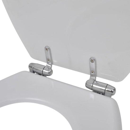 vidaXL Toiletbril met soft-closedeksel 2 st MDF wit
