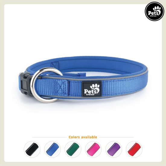 Pets&Partner® - Hondenhalsband - Reflecterend neopreen halsband - M 40-50 x 2,8 cm - Donkerblauw