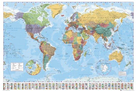Poster Wereldkaart-Extra Large-140x100cm.