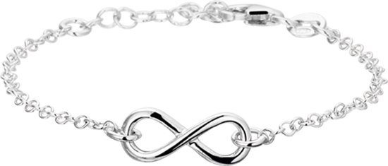 The Fashion Jewelry Collection Armband Infinity 2,0 mm 17 + 2 cm - Zilver Gerhodineerd