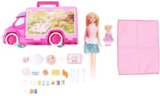 Picknick wagen -  Camper - Geschikt voor Barbie - Met vele accessoires - Inclusief barbiepoppen - Met picknickkleed en etenswaren