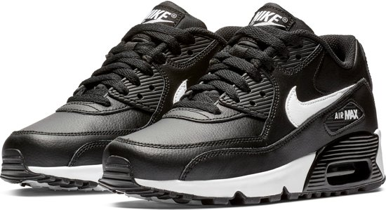 176432d271d Nike Air Max 90 Leather Sneaker Junior Sneakers - Maat 39 - Unisex - zwart/