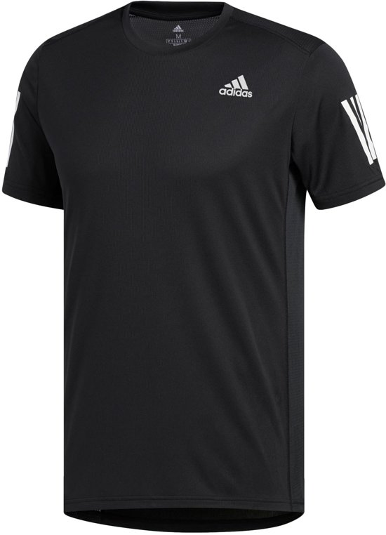 adidas OWN THE RUN TEE Heren Sportshirt - Black/White - Maat L