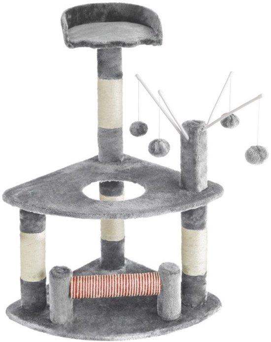 TecTake kattenkrabpaal - Mitzi - 90 cm hoog - grijs - 402087