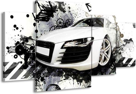 Canvas schilderij Audi   Wit, Zwart, Grijs   160x90cm 4Luik