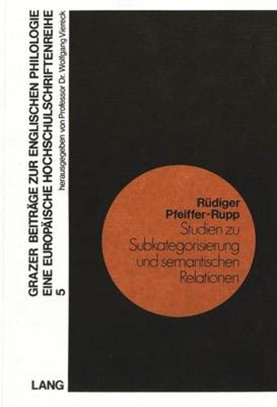 Studien Zu Subkategorisierung Und Semantischen Relationen