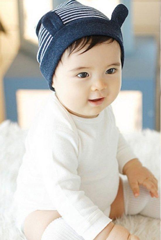 Magnifiek bol.com | Baby muts gestreept met oortjes | marine blauw | 3-18 #LR76
