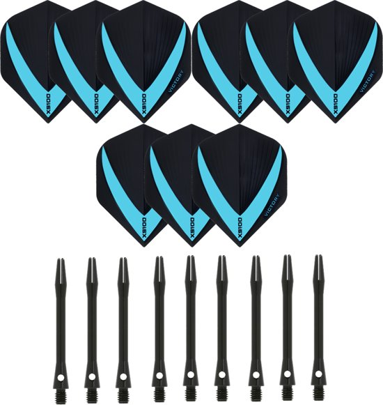 3 sets (9 stuks) Super Sterke – Aqua - Vista-X – darts flights – inclusief 3 sets (9 stuks) - medium - Aluminium - zwart - darts shafts