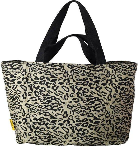 c26051dcc12 Mycha Ibiza – leopard tas - XL shopper - Strandtas - tas met rits -  olijfgroen