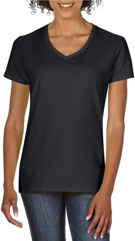 Basic V-hals t-shirt zwart voor dames - Casual shirts - Dameskleding t-shirt zwart L (40/52)