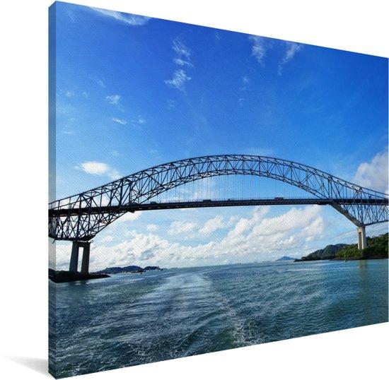 De Bridge of the Americas bij het Panamakanaal in Panama Canvas 80x60 cm - Foto print op Canvas schilderij (Wanddecoratie woonkamer / slaapkamer)