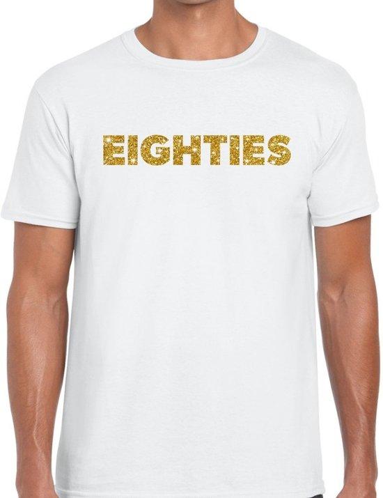 Eighties goud glitter tekst t-shirt wit heren - Jaren 80/ Eighties kleding M