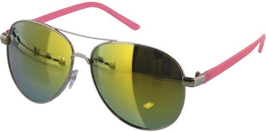 dd27faa46bb974 Zonnebril met groene glazen en roze pootjes