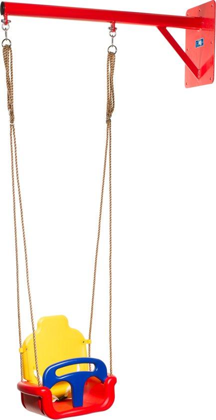 WallySwing® schommel muurschommel ROOD met meegroei-zitje ROOD/GEEL/BLAUW