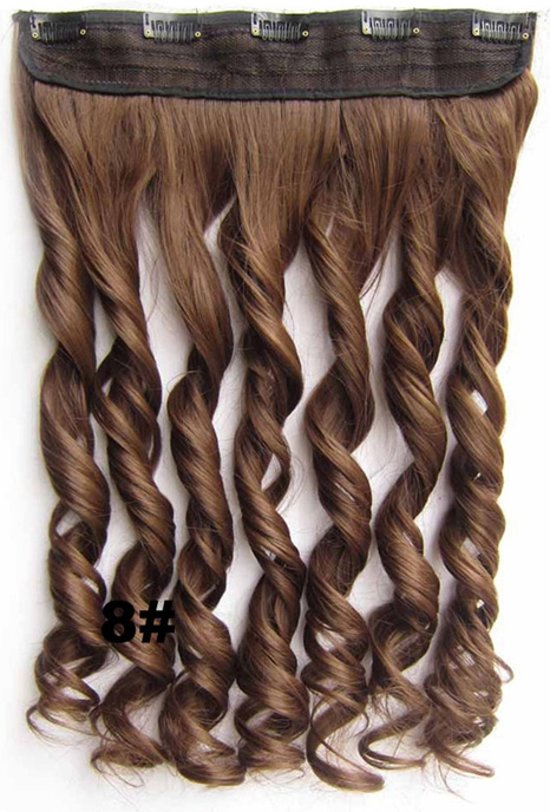 Clip in hair extensions 1 baan wavy bruin - 8#