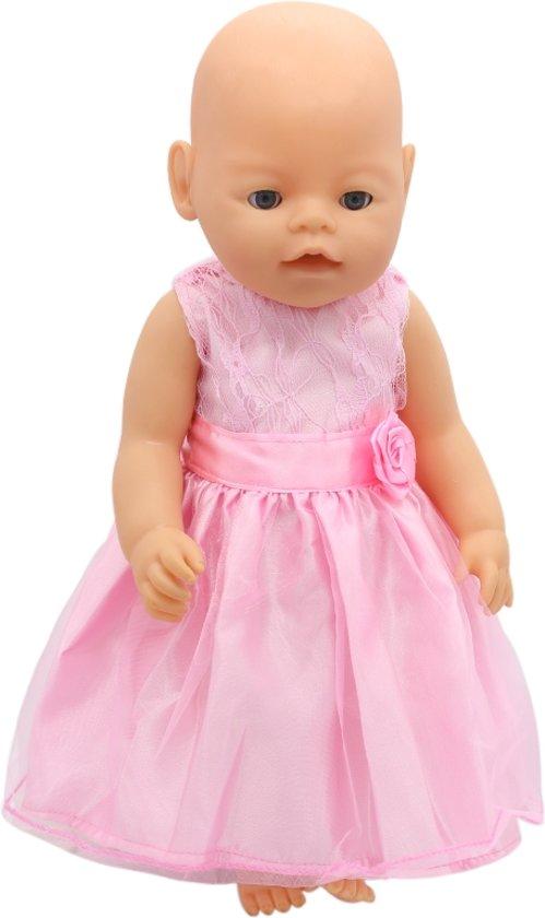 eb94ed51653441 Roze galajurk met kant en roosje voor een babypop zoals Baby born -  Poppenkleertjes voor meisje
