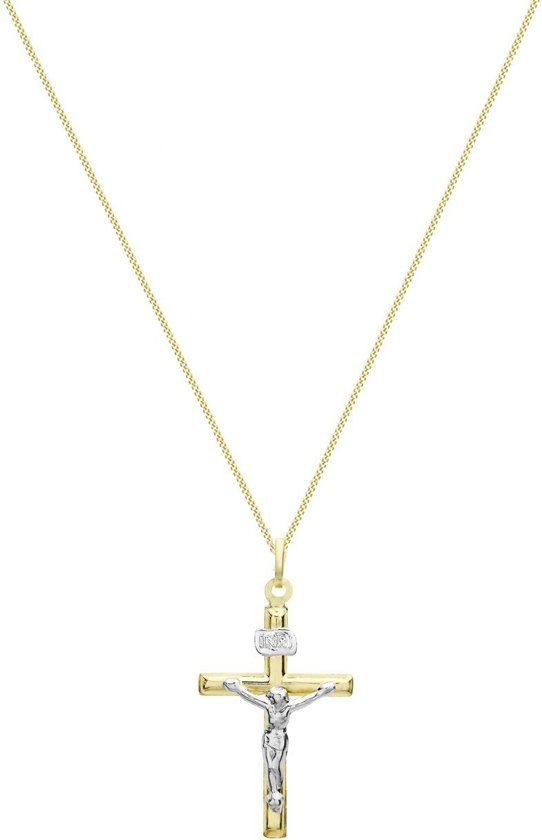 Lucardi - 9 Karaat bicolor ketting met hanger kruis