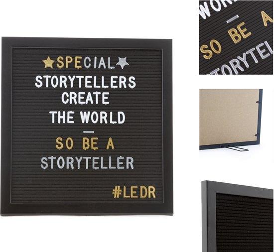 LEDR® Letterbord 30 x 30 Volledig Zwart – Inclusief 354 letters, symbolen & emoticons – Inclusief verstelbaar standaard - Eiken houten frame