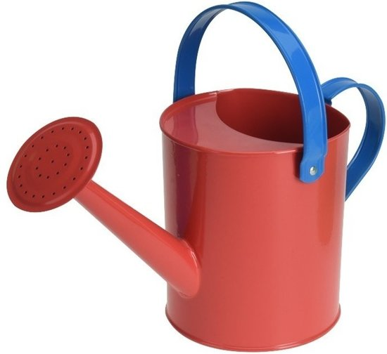Rode stalen speelgoed gieter 15 cm voor kinderen - Zandbakspeelgoed/strandspeelgoed gieters voor kinderen