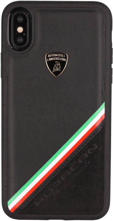 Lamborghini backcover Alcantara Apple iPhone X / Xs - Zwart