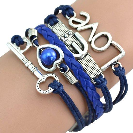 Fako Bijoux® - Multi Armband - Sleutel Hart Gesp Love - Donkerblauw