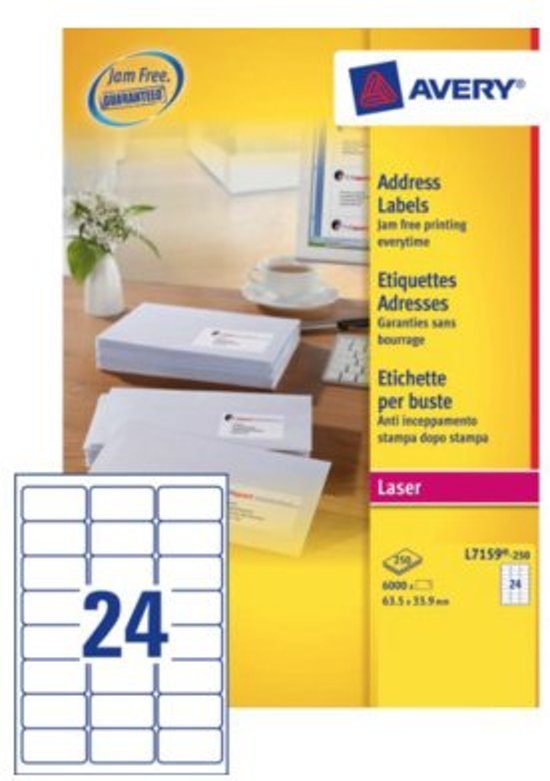 Avery etiketten QuickPEEL  formaat 635 x 339 mm (b x h) 6.000 stuks 24 per blad