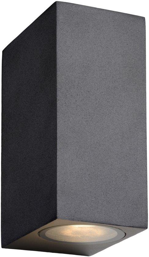 Lucide ZORA-LED - Wandspot Buiten - LED Dimb. - GU10 - 2x5W 3000K - IP44 - Zwart