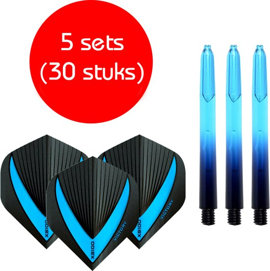Dragon darts - Vignette – 5 sets (15 stuks) - medium - darts shafts - aquablauw - inclusief 5 sets (15 stuks) stevige - Vista-X - darts flights