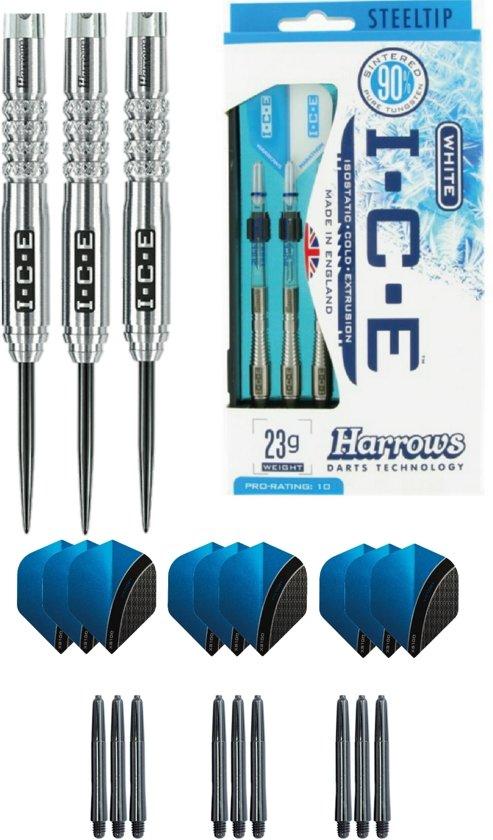 Harrows - ICE 21 gram Knurled grip - dartpijlen - plus 3 sets - dartshafts - en 3 sets - dartflights