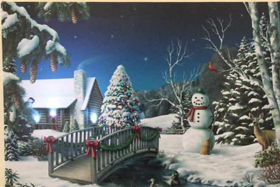 canvas op houten frame sneeuwpop en kerstboom met led lampjes en glasvezel verlichting kerst