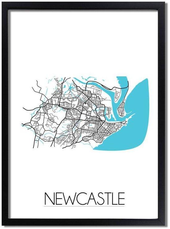 Plattegrond Newcastle Stadskaart poster DesignClaud - Australië - Wit - A3 + Fotolijst zwart
