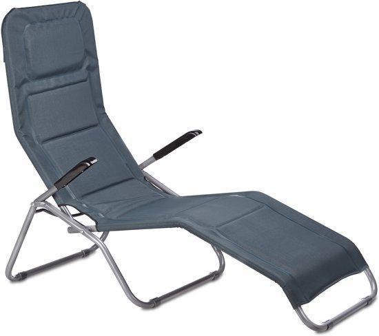 Relaxdays ligbed opklapbaar grijs ligstoel for Ligstoel buiten