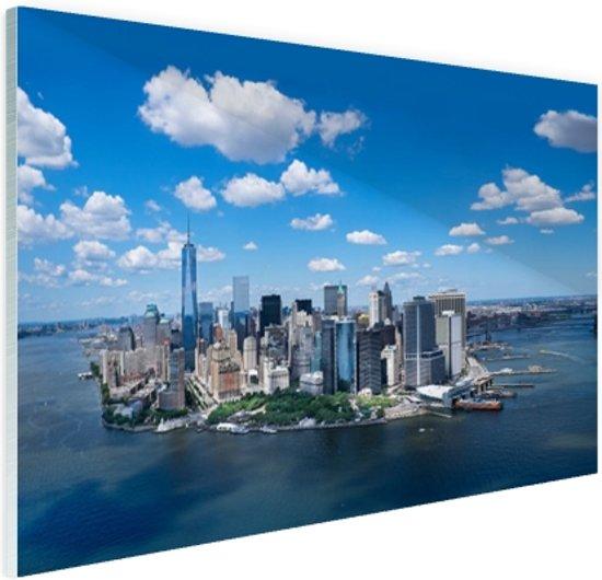 Luchtfoto van Manhattan Skyline Glas 90x60 cm - Foto print op Glas (Plexiglas wanddecoratie)