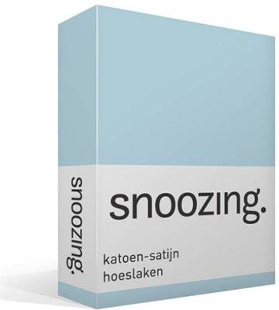 Snoozing - Katoen-satijn - Hoeslaken - Tweepersoons - 140x200 cm - Hemel