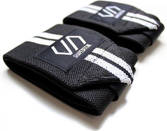Shaped Striped Wrist Wraps – Zwart