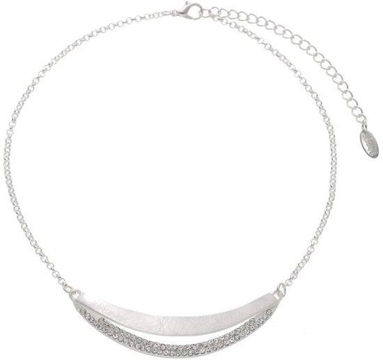 Korte ketting metaal mat zilverkleur 38 cm lengte met kristalstenen + verlengketting