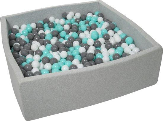 Ballenbak - stevige ballenbad - 120x120 cm - 1200 ballen Ø 7 cm - wit, grijs, turquoise.