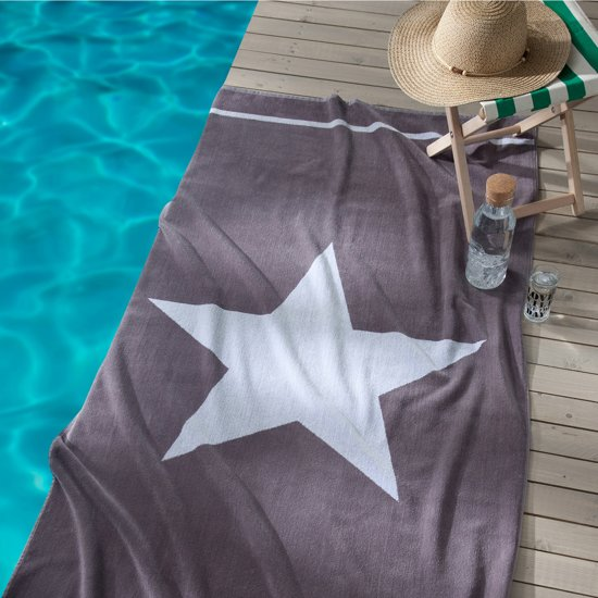 Seahorse Star strandlaken - 100x180 cm - Grey