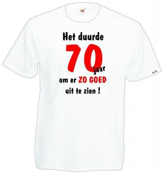 Mijncadeautje Heren leeftijd T-shirt Wit maat M Het duurde 70 jaar om er zo goed uit te zien